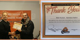 Pop-A-Lock Canada recognizes locksmith Matt Hocken Employee of the Month - December 2017